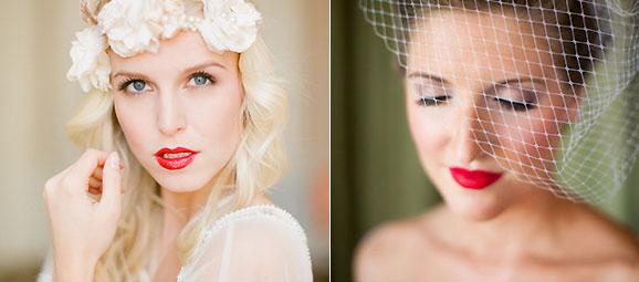 Maquillaje Novia con labios rojos