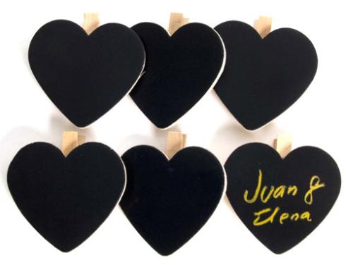 Pizarras pinzas con forma de corazón