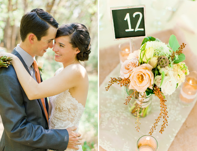 delicate-lace-ranch-wedding-centerpiece-table-number-peach-pink-white-green