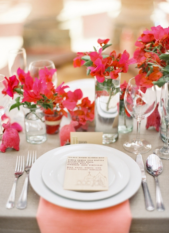 Jose-Villa-Mexico-Workshop-red-coral-pink-bouganvilla-tablescape