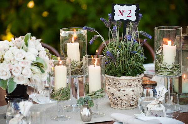 Rustic ojai garden wedding potted lavender white