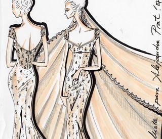 Boceto traje del novia Alejandra Prat
