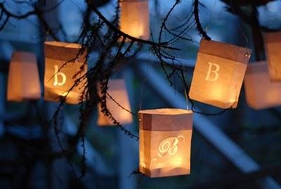 Bolsas de papel y velas en bodas de tarde - Farolillos para velas ...
