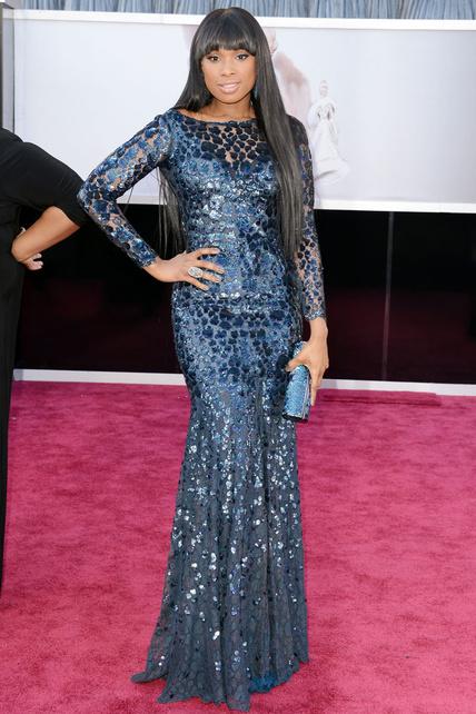 Jennifer Hudson, con un Roberto Cavalli azul de extraña textura y apertura central