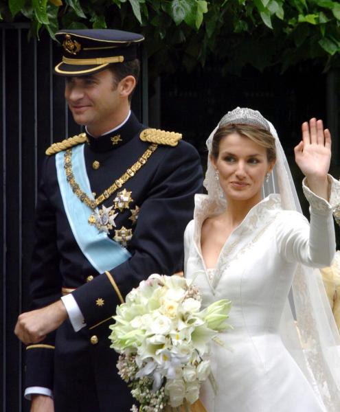 La princesa Letizia llevó azahar en su ramo de novia