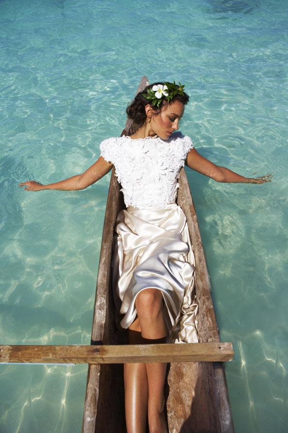 vestido novia cuerpo encaje y bordados falda raso