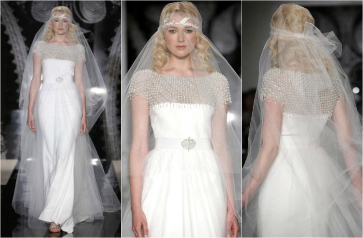 Vestido de novia con velo de tul dispuesto al estilo años 20, y escote y cinturón de pedrería. Colección 2014 de Reem Acra.