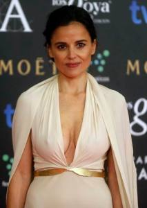 "Spanish actress Elena Anaya nominated for best actress for her role in the film ""Todos estan muertos"" poses on the red carpet before the Spanish Film Academy's Goya Awards ceremony in Madrid"