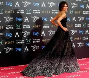 "Spanish actress Goya Toledo, nominated for best supporting actress for her role in ""Marsella"", poses on the red carpet before the Spanish Film Academy's Goya Awards ceremony in Madrid"