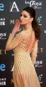 Spanish actress  Ursula Corbero poses on the red carpet before the Spanish Film Academy's Goya Awards ceremony in Madrid
