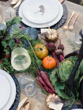 Centro de mesas verduras